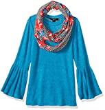 Amy Byer Girls' Big 7-16 Bell Sleeve Top with Scarf
