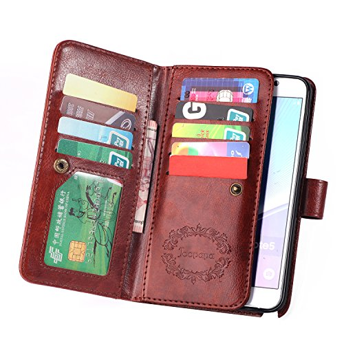 Note 5 Case, Galaxy Note 5 Case, Joopapa Galaxy Note 5 Wallet Case,Pu Leather Case Magnet Wallet Credit Card Holder Flip Cover Case Built-in 9 Card Slots & Stand Case for Samsung Galaxy Note 5 (Brown)