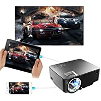 Synchronize Smart phone Screen Projector,2018 updated 170 inch 1500 LED Luminous Multimedia Video LED Projector For iPhone IOS Android Phone DVD Player Tablet Laptop With HDMI VGA AV USB Input Black