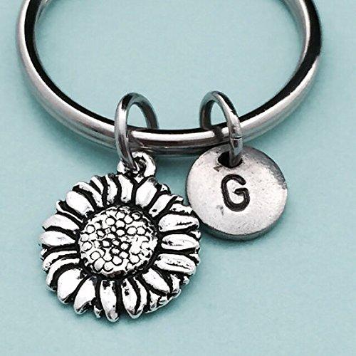 Sunflower keychain, sunflower charm, flower keychain, personalized keychain, initial keychain, customized keychain, monogram
