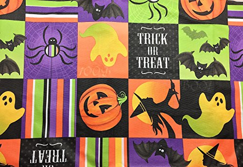 Halloween Holiday Square Patchwork Flannel Backed Vinyl Tablecloth: Cute Ghosts, Bats, Jack O Lanterns, Witch and Spiders with Fun and Colorful Pictures
