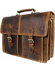 Briefcase Genuine Leather Messenger for Men Women Laptop Bag 15.6-inch Satchel Large Capacity Vintage by Corno...