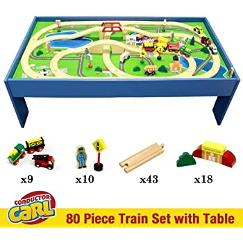 Conductor Carl Train Table u0026 Play Board Set (80 Piece)  sc 1 st  Amazon.com & Amazon.com: KidKraft Waterfall Mountain Train Set and Table: Toys ...
