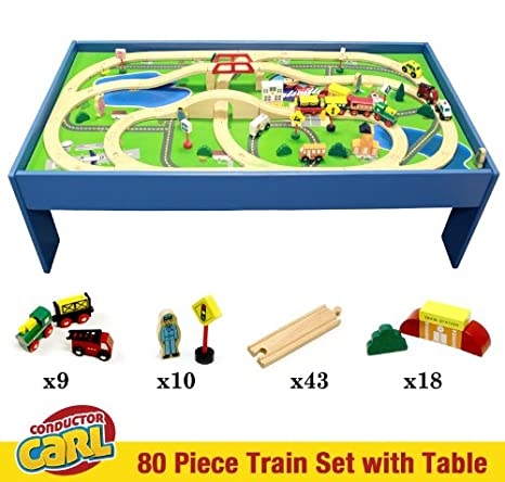 Conductor Carl Train Table u0026 Play Board Set (80 Piece)  sc 1 st  Amazon.com & Amazon.com: Conductor Carl Train Table u0026 Play Board Set (80 Piece ...