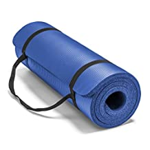 Spoga Premium 5/8-Inch Extra Thick 71-Inch Long High Density Exercise Yoga Mat with Comfort Foam and Carrying Straps, Blue