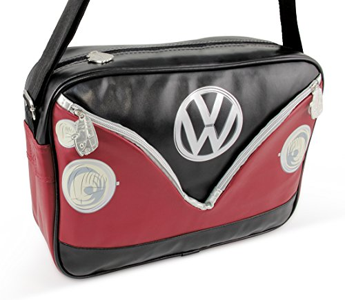 Collection Leather Small Messenger (VW Collection by BRISA Genuine Volkswagen T1 Camper Bus Shoulder Bag Messenger Bag, Black & Red)