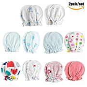 Anti-Scratch Baby Mittens, Pack of 2pair, Stop Scratches and Germs, Pure Cotton, by Delight eShop