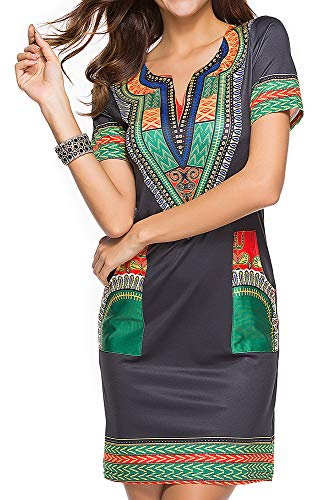 - shekiss Womens Bohemian Club Midi Dresses Short Sleeve Knee Dashiki Vintage Ethnic African Wear Pockets Blackgreen