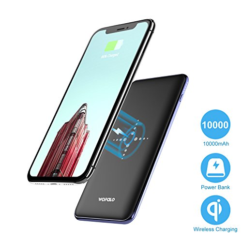 Qi Wireless Power Bank 10000 Mah Portable Power Bank and Wireless Charger External Battery Pack 2 in 1 With Dual Fast Charging Port For IPhone 8 , Galaxy S8/S8 Plus And More -Black