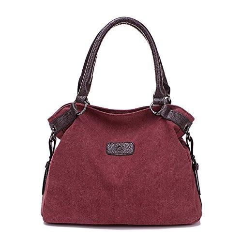 SDINAZ Bolsos de lona ocasionales de las mujeres grandes bolsos livianos con hombro bandolera gris Púrpura