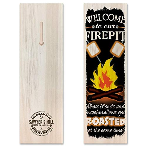 Welcome to our Firepit, Where Friends and Marshmallows Get Toasted at the Same Time. - Handmade Wood Block Sign with Quote for Backyard Fire Pit, Campfires, Camping, ()