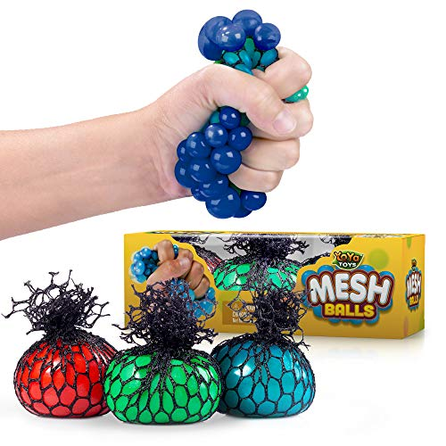 YoYa Toys Squishy Mesh Stress Balls 3 Pack - Non Toxic Rubber Sensory Balls - Ideal for Stress and Anxiety Relief, Enhanced Blood Circulation, Special Needs, Autism and Disorders - 2.4 Inches ()