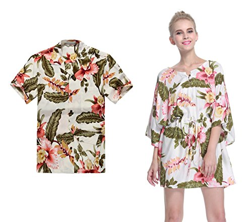 Couple Matching Hawaiian Luau Aloha Shirt Poncho Dress in Rafelsia Patterns 2 Colors