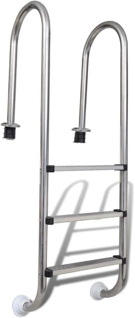 FAMIROSA Escalera de Piscina 3 peldaños Acero Inoxidable 120 cm