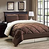 Down Alternative Reversible Comforter Set KING SIZE/Reversible in Chocolate Brown/Cream