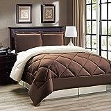 Down Alternative Reversible Comforter Set Twin/Reversible in Chocolate Brown/Cream