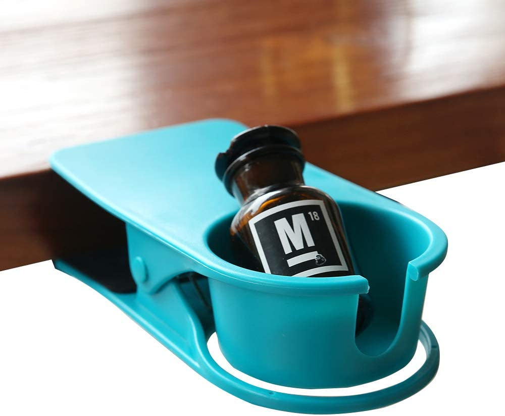 Drinking Cup Holder Clip Home Office Table Desk Side Clip Water Drink Beverage Soda Coffee Mug Holder Cup Clip Design (Blue)