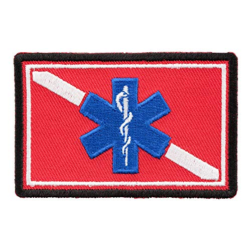 Rescue Diver Medic Patch, Scuba Diver Flag Patches
