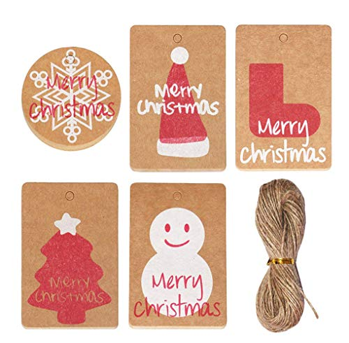 100/300 Pack Brown Kraft Paper Christmas Gift Tags with Twine String Tie on Smooth for Writing - 5 Designs for DIY Holiday Xmas Present Wrap Stamp and Label Package Name Card (100 pcs)