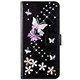 samsung galaxy a5 2017 IKASEFU Compatible with Samsung Galaxy A5 2017 Case Glitter Shiny butterfly Rhinestone Floral Pu Leather Diamond Flash Bling Wallet Strap Case with Card Holder Magnetic Kickstand Flip Cover,Black