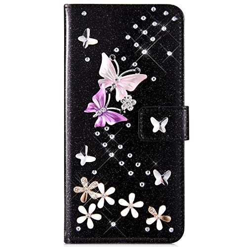 IKASEFU Compatible with Samsung Galaxy A5 2017 Case Glitter Shiny butterfly Rhinestone Floral Pu Leather Diamond Flash Bling Wallet Strap Case with Card Holder Magnetic Kickstand Flip Cover,Black
