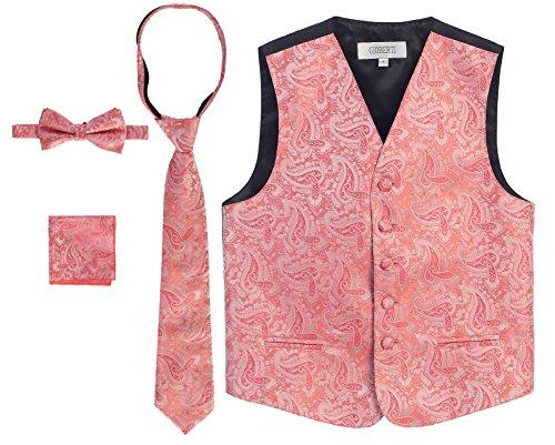 Gioberti Boy's 4 Piece Formal Paisley Vest Set, Coral, Size 10]()