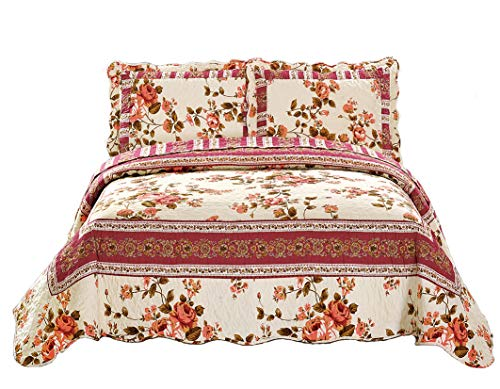 Mk Collection 3pc Full/Queen Oversize Reversible Quilted Bedspread Set Floral Beige Pink Green New