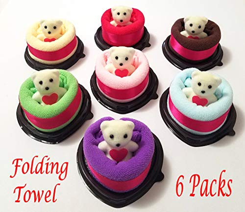Pack of 6 Heart Shape Folded Towel with Cute Little Bear Personalized Wedding Gift Thank You Guest Favor Bridal Shower Baby Showers Birthday Party Flavor Goodie - Favors Cake Towel Shower