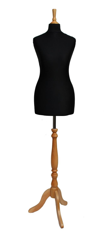 DELUXE Size 10/12 Female Dressmaking Dummy Tailors Bust Mannequin BLACK Jersey BEECH Effect Tripod Wooden Stand The Shopfitting SHop SFSDELUXEBLACKBEECH10/12
