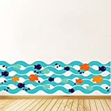 BIBITIME Blue Wave Cartoon Fish Wall Decal Bubbles Vinyl Sticker for Bathroom Glass Window Nursery Bedroom Flooring Angular Line Border Art Mural 12