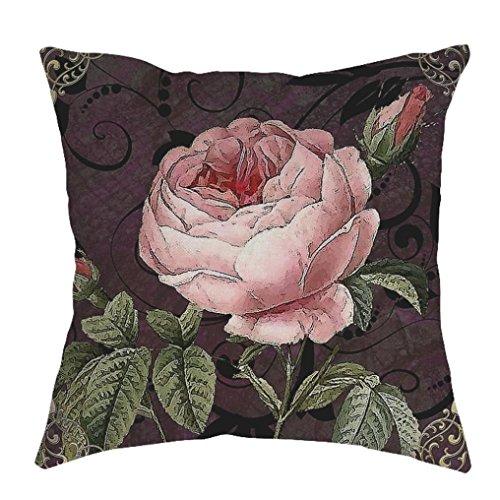 Linens Silk Throw - Iuhan Throw Pillow Case Cushion Cover, Flower Print Linen Pillow Case Sofa Waist Throw Cushion Cover Home Decor 18