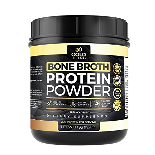 Bone Broth Protein Powder - Unflavored Grass Fed Beef 20 Servings 445g/15.7oz - Gluten Free & Great For Paleo Diet - Bone Broth Powder Supports Digestive & Immune Health - Made In USA