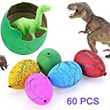 60pcs Easter Hatch and Grow Dinosaur Eggs Novelty Magic Toys for Kid, Random Color (Bulk)