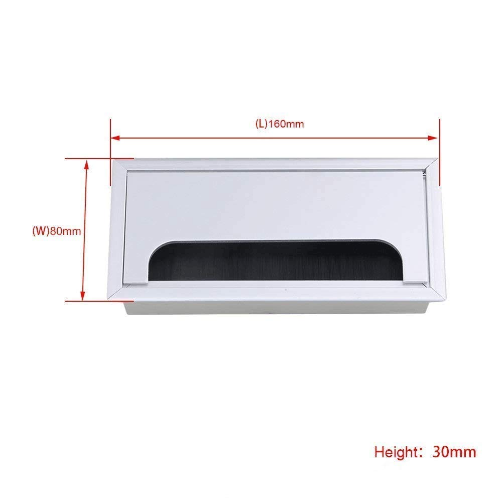 2PCS Desk Grommet Metal Rectangle Desk Cord Cable Hole Cover Grommet with Brush for Home Office Bank Computer Table