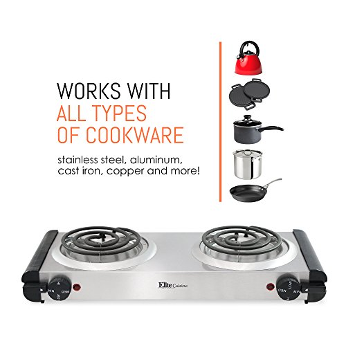 Elite Cuisine Electric Double Coil Burner Hot Plate, Stainless Steel by Maxi-Matic (Image #3)