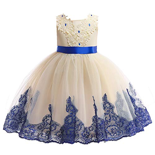 Kids Easter Christmas Birthday Pageant Party Wedding Formal Dresses for Toddler Girls Size 8 9 Years Tulle Ball Gown Daddy Daughter Dance Flower Girl Dress (Beige, 140) -