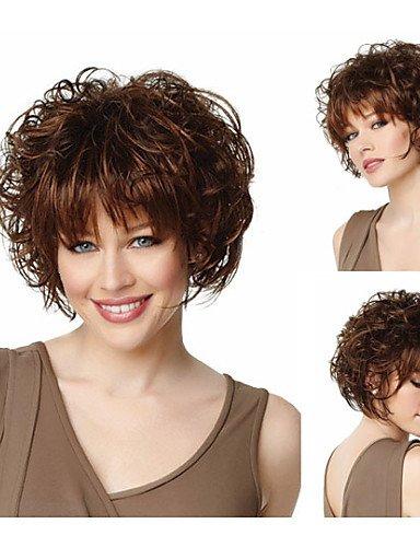 Pelucas europeos Moda pelo pelo bob corte pelucas sintéticas Moda Brevi ondulado pelucas marrones con flecos