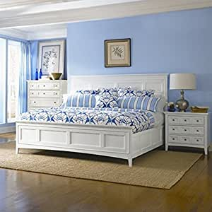 Magnussen kentwood panel bed in white queen for Bedroom furniture amazon