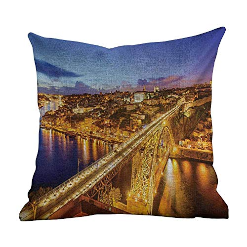 Matt Flowe Standard Pillowcase City,Porto Dom Luis Bridge at Night River Portuguese Coast Mediterranean View,Apricot Violet Blue,for Home Sofas,bedrooms,Offices,and More 18