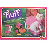 VINTAGE BARBIE Doll's FLUFF Poseable KITTEN Cat w SCRATCHING POST, Carrier & More! (1982 Mattel Hawthorne)