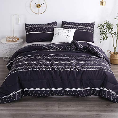 Andency Navy Boho Comforter Queen(90×90 Inch), 3 Pieces (1 Triangle Geometric Striped Comforter+2 Pillowcases), Soft…