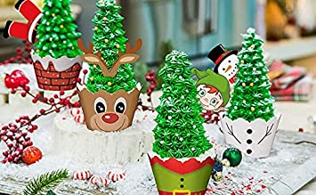 PRE-CUT Edible Christmas Cupcake Toppers Decorations Santa Reindeer Pudding Elf
