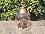 CraftVatika Akhand Diya Oval Shape Brass Dia Oil Lamp | Glass Tealight Candle holder Lantern Lamp | Livingroom Decoration | B''day Gifts | Home Office Decor Lantern |