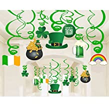 Lucky Irish Green St. Patrick's Day Foil Hanging Swirl Decoration - 30 Pieces