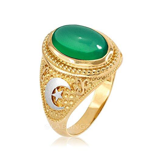 10K Two Tone Yellow Gold Crescent Moon Green Onyx Islamic Ring