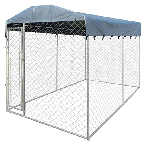 Wuyue and buding Outdoor Dog Pen Large, Dog Kennel, Dog Run Cage, Pet Puppy Playpen Steel Garden Backyard with Canopy Top 13'x6'