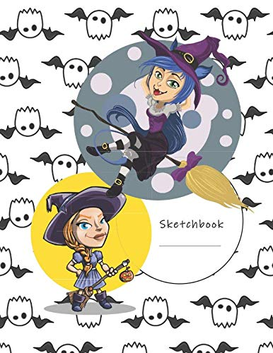 Sketchbook: Cartoon Witches - A Halloween Themed Large