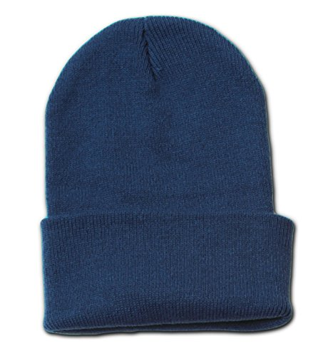 New Solid Winter Long Beanie - Navy 1pc (Solid Beanie Winter Long)