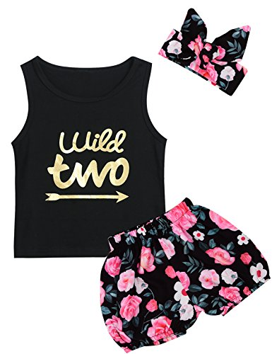 Little Girls Floral Outfit Set Wild Two 3Pcs Vest Short Set with Headband (2T, Black03)