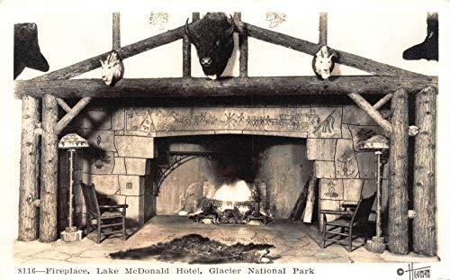- Real Photo Postcard Fireplace Lake McDonald Hotel Glacier National Park~121867